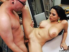 Chachita Missy Martinez gets her mouth stretched by thick stiff love torpedo of horny dude