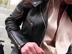 The attractive busty lady, wearing a leather jacket and a sexy molded skirt, was kind enough to expose her lovely boobs to the camera. She sincerely admits feeling horny too. Click to watch her spreading legs and showing buttocks, while still keeping her panties on. Enjoy!