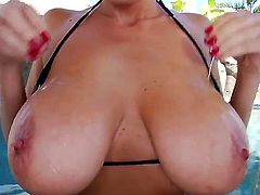 Beautiful milf chick with huge titties and a really nice cunt Alia Janine is doing a good work by blowjobing and masturbating her boyfriends big hard cock on camera.