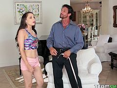 Tiffany wasn't expecting a visitor, least of all her dad's tailor! When he comes over, she thinks its rude to send him back. She is taken aback when he offers to take her measurements for a dress he wants to make for her. She is hesitant but lets him wrap the inch tape around her sexy boobs.