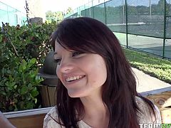 Petite cutie meets a guy on a blind date and ends up fucking him