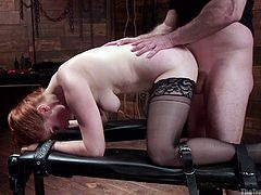 Penny is a sexy woman and for no fault of her's, she is taken prisoner by John, a man who just wants to give her pain. He ties her up and strips her naked, but leaves her stockings on. He then ties her legs up so, that she can't break free and enters her hole from behind.