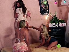 Maddy, Aj and Karla like to hang out together. They get down on the rug and start with fingering each other. Maddy licks on Aj's pussy, making sure it is wet. They even finger each other, kiss on lips and suck nipples. They love to rub their bodies on each other too.