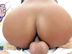 Angelica Heart has fire in her eyes while sucking mans rock hard tool