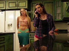 Aj Applegate and Casey Calvert bare it all in the kitchen to have hot lesbian sex. Big ass blonde gets her nice pink pussy fingered from behind after losing her green panties.