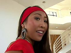 Sharon Lee is one curvy Asian brunette with a big ass and for that ass, shes going to get a butt plug. This bitch really wants that butt plug up her ass really deep