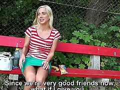 Cute Euro blonde is going to make another one of these Euro real videos. Shes going to give him a tugjob on the street for some cash and hes going to put it all on camera