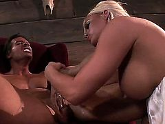 Crista Moore is a sex obsessed blonde slut with big hooters and dripping wet pink pussy.  Horny guy screams like an animal as passionate bitch sucks and rides rock hard cock.