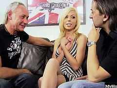 she ends up sucking dick and getting her pussy and asshole fucked by both dudes instead. Watch her take the dicks like a champ even doing a hot double penetration. This hot blonde was made for porn, not music