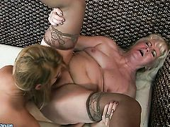 Blonde Laraan with gigantic jugs has some time to give some sexual pleasure to lesbian Mylen