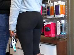 AT&T Store Perfect Ass In Yoga Pants!!