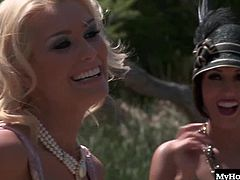 in this porn parody of Bonny and Clide by Bluebird films. They pleasure cocks outside at a picnic and get their pussies licked and pounded too. Watch as cum squirts on their pretty faces.