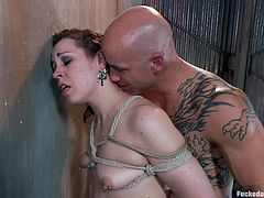 Slutty Elizabeth finds herself alone in the basement, where a horny guy has tied her up with strong ropes. See the naked bitch, wearing lovely tattoos on her body, persuaded to open her mouth and suck dick... Don't miss the hardcore scenes and have fun!