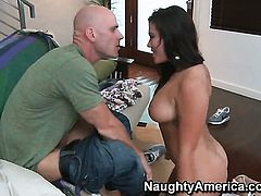 Exotic London Keyes with juicy jugs fulfills her sexual needs with Johnny Sinss throbbing man meat in her love tunnel