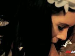 Sexy whorable and pretty brunette maid Jenna J keeps on riding fat big cock