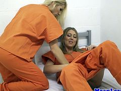 Prison lezdom sex with busty british blondes