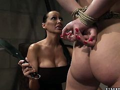 Brunette Zyna Baby with giant melons and Mandy Bright satisfy their sexual needs together in girl-on-girl action