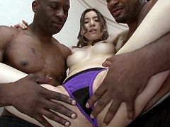 If you're looking for an exotic beauty with tight body, click to watch naughty Yuria, entertaining two black guys. They are impatient to see her naked and take off her clothes, then eat her appetizing cunt. See the slim lady on her knees, sucking dicks with fervor!