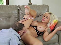 There's nothing slutty Nina would appreciate more, than a yummy appetizing dick. Once this luscious blonde undresses, you can enjoy the sight of her gorgeous big boobs. See the horny lady with nice tattoos inked on her crazy body, blowing dick with fervor! The tit job scene is a must-see, too...
