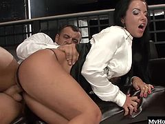 She gets to work sucking her mans big hard cock and then spreads her legs to hop on for a ride. Her man fucks her dripping hole and licks her feet before they keep on fucking. He plows her from behind and then pulls out to spray her ass cheeks with a giant load of cum