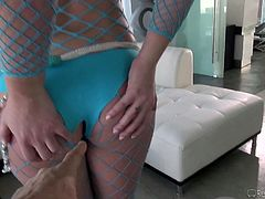 Slutty Maddy is wearing a provocative blue outfit, which makes her look extremely hot. Check out her crazy ass and her shaved cunt! Not to mention, that this bitchy babe is just craving to taste cock and play dirty... Enjoy the inciting scenes.