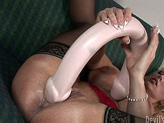solo milf masturbating with huge dildo @ my gigantic toys #14
