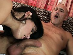 Teen Lexy Little with huge hooters gulps dudes sturdy pole
