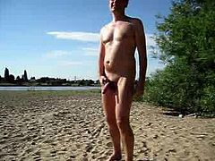 Public wank at beach others watching me