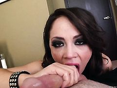 Kristina Rose has great dick sucking experience and expands it with horny fuck buddy
