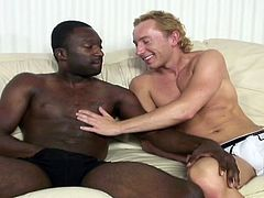 The moment has finally come! Naughty Dominic enjoys the hot presence of a muscular black guy, with big appetizing dick. Click to watch this blonde white guy, sucking cock down to the balls! Enjoy the inciting gay scenes.