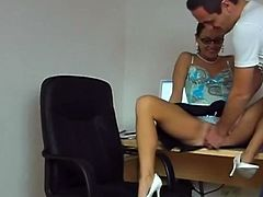 Delicious German brunette secretary fucked at work
