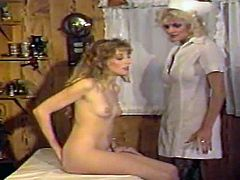 In this vintage, hardcore porno, youll be watching a doctor giving his beautiful, blonde patient an exam that requires him to ask her to take off her panties and bend over. This allows the lesbian nurse to come in and plug a hose into her tight asshole, for an enema but, that only gets them horny and the muff diving and tit sucking ends with an orgasm.