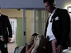 Destiny Dixon and Helly Mae Hellfire are a blonde and a brunette that are having group sex. They are dressed in leather lingerie and having a fetish scene.