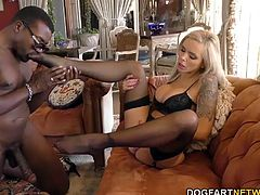 Nina Elle is a piece of ass, black cock slut who loves men to worship her feet. She loves her feet being massaged and stroked, kissed and sucked. Stick some big, black meat between her white feet and it's on!