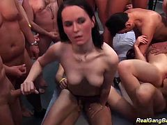 incredible sexy german chicks enjoys her first extreme wild bukkake gangbang fuck orgy
