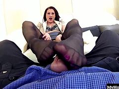 taking off her high heels and panties, before spreading open her legs, which allows him to see her meaty thighs and shaved snatch. After getting his dick hard, she gives him a look at her booty and brown eye, before getting ready to satisfy his foot fetish by giving him a footjob for a cumshot.