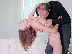 Tracy is home alone, not knowing there is a bad man in the house. He confronts her and now, instead of wanting to steal her stuff, he wants to fuck her. She could scream or run, but this scenario turns her on a lot. Instead, she lets him have her, sucking her tits and pussy.