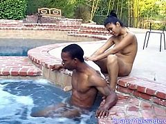 Seductive Asian gal pleases her man with soapy massage near the pool