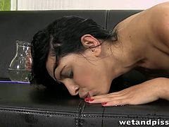 Great looking darling Kira drills her cunt and squirts with so much joy
