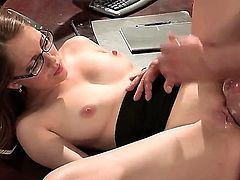 Nothing better than a nasty sex in office. Slutty long haired chick with glasses gives her handsome partner a nice fellatio. After that she gets her cunt licked and fucked by this well endowed dude and she likes it.