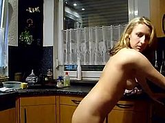 Teen fucked in the kitchen