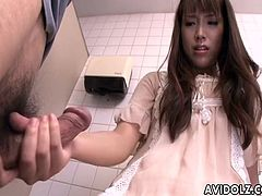 Public bathroom is a perfect place to jerk off a stranger if she wants. Asian floozy is squirting herself as she reaches her climax and she then pleases him by jerking him off.