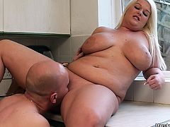 Blonde fatty rides boss cock for cash