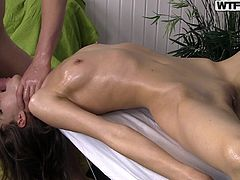 Anna's nude body is a huge turn on for the skillful masseur, who promised to help her get rid of tension, in a very pleasant way. So far, the guy kept his promise. Click to watch the slutty babe with small tits, sucking his dick and balls with dedication...