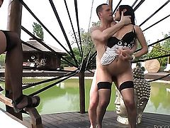 Samia Duarte is on the way to the height of pleasure with Ian Scotts pole in her mouth before she ge