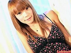 Incredible hot ladyboy Natt takes off her girlfriend dress and strips in sexy lingerie. When Natt got naked, she takes her thick cock into hand and strokes it until the happy end.