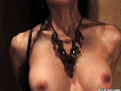 Exotic Ange Venus has fire in her eyes as she milks cum loaded sausage of her dude