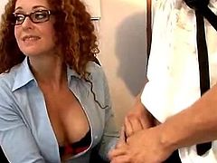 Curly ginger counselor Kitty Caulfield made love by couple
