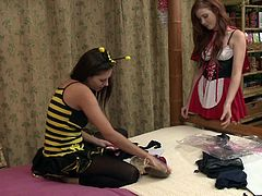 Lecherous lesbians babes gets cozy in a stimulating bed sex in a reality shoot
