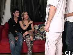 Sweet virgin lured into having hardcore sex with 2 dudes